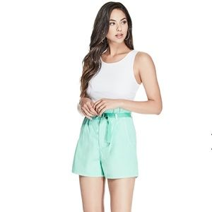 Guess High Waisted Paper Bag Mom Shorts in Teal
